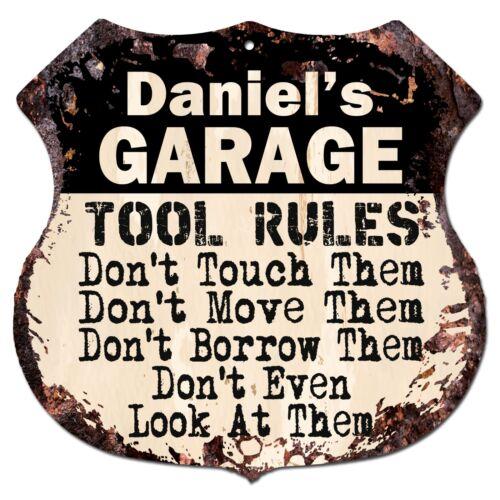 BPG0012 DANIEL/'S GARAGE RULES Rustic Shield Sign Man Cave Decor Funny Gift