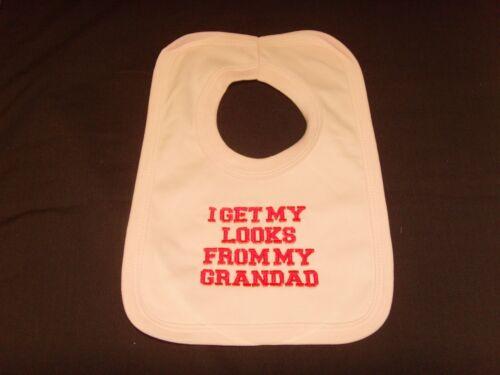 Funny Bordado Personalizado Babero bebé ducha regalo puedo obtener mi aspecto de abuelo