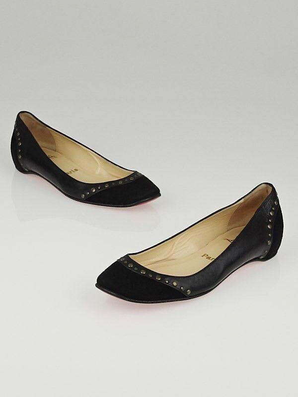 NEW Christian Louboutin MOUSSE CLOU CLOU CLOU Black Patent Suede Flats Studs Flat shoes 41 143b3f