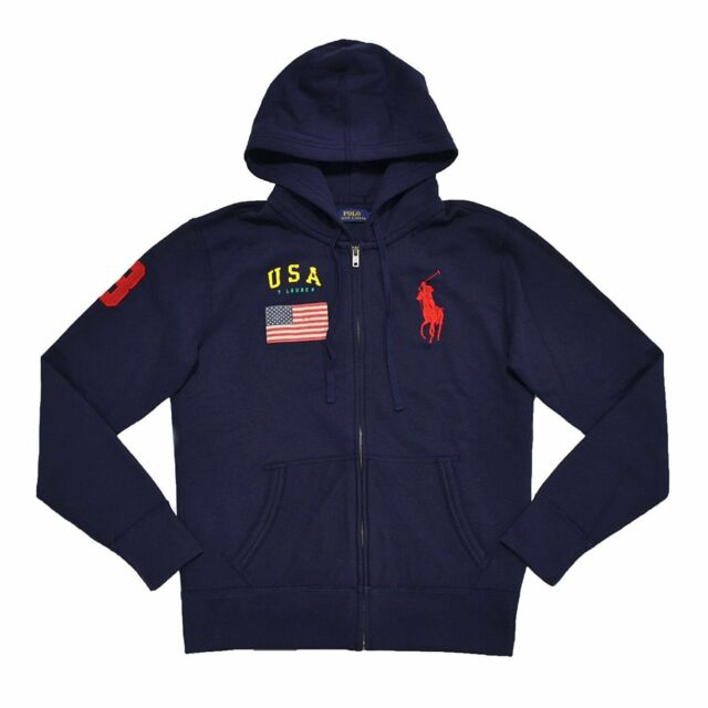 Usa M Pony Big Ralph Zip Hoodie Womens Full Polo Lauren S Sweatshirt L Navy TF1lKJc