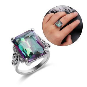 4-3CT-Mystic-Rainbow-Topaz-925-Silver-Ring-Women-Men-Wedding-Engagement-Size6-10