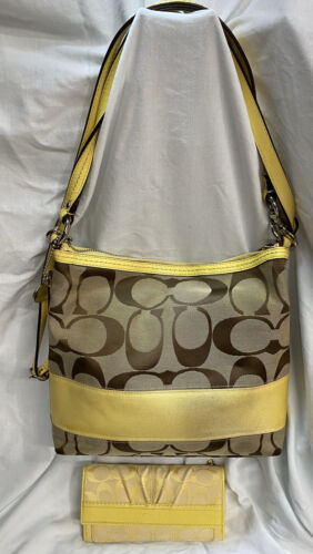 COACH  Brown Canvas And  Yellow Leather Trim Handb