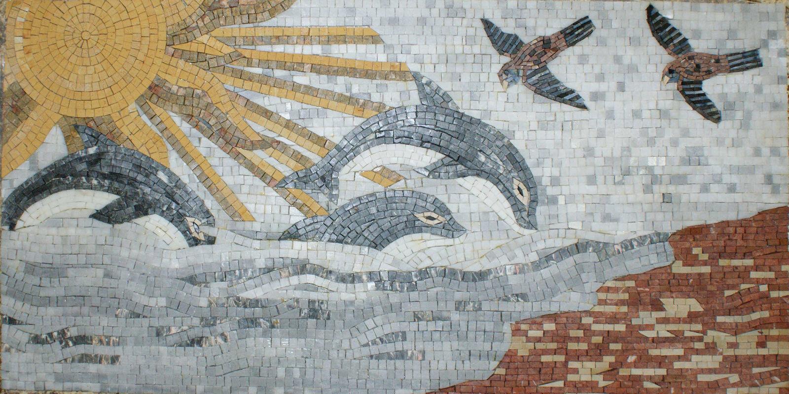 Art Tile Stone Ocean Sun Dolphins Waves Birds Marble Mosaic AN911