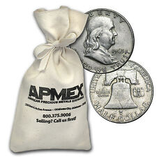 90% Silver Franklin Half-Dollars $50 Face-Value Bag Avg Circ - SKU #88197