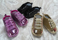 Babyschuhe Schuhe Turnschuhe Baby Glitzer Schwarz Gold Rosa 6- 9- 12- 15mon.