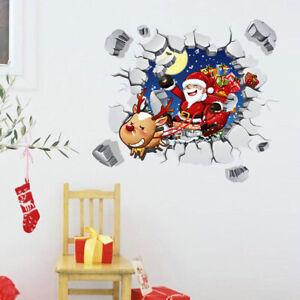 Weihnachten-Wandtattoo-Merry-Christmas-Winter-Wandsticker-Weihnachtsmann-Rentier