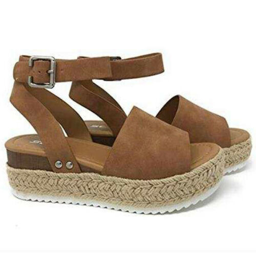 Womens Espadrilles Wedge Platform Leopard Ankle Strap Buckle Sandals Shoes Sizes