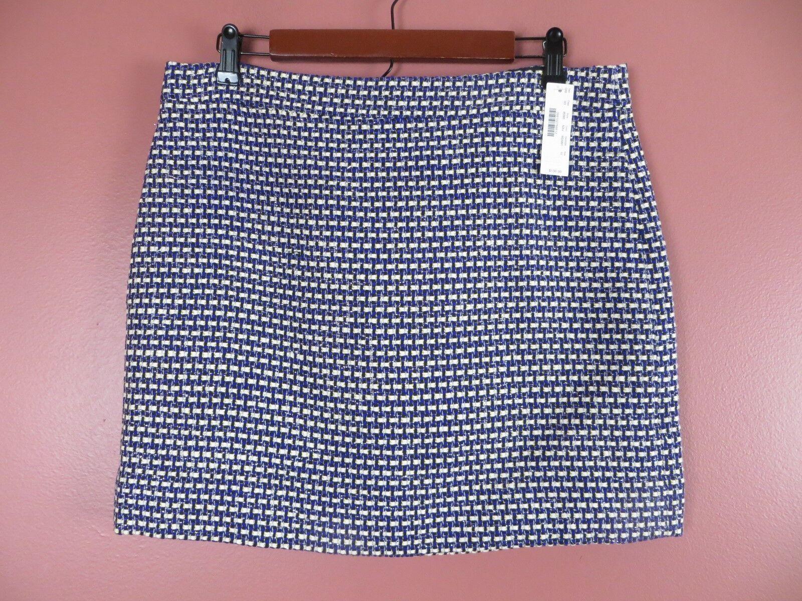 SK07300- NWT J. CREW Woman Textured Silk Cotton Mini Skirt Geo Sz10
