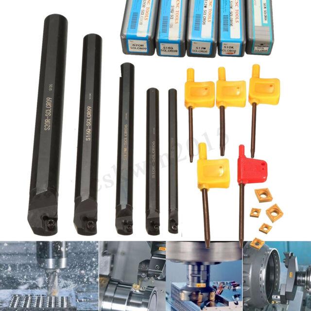 5PCS Set Of 7 10 12 16 20mm SCLCR09 Lathe Turning Holder CCMT Carbide Insert BE#
