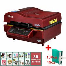 3d Vacuum Heat Press Machine For Phone Case Plates Sublimation 10pcs Cup Wrap