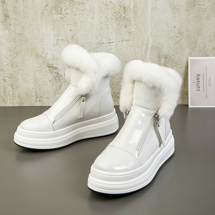 femmes Real Leather Warm Fur Lining Wedge Heels Zipper Ankle bottes Winter chaussures