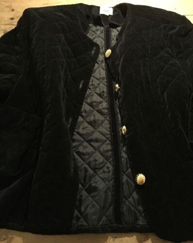 Vintage Veste Velvet Uni 38 courte 14 1980 des Royaume noir courte Jacket en Quilted années matelassée velours Short 38 Black Uk 14 1980's Cropped qO7qvrpaw