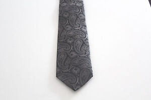 Neuf-Homme-Cravate-de-Luxe-Brillante-Soie-150-CM-Noir-Or-Motif-Cachemire-Ovp