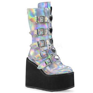 Demonia-SWING-230-Women-039-s-Silver-Hologram-Vegan-Leather-Platform-Mid-Calf-Boots