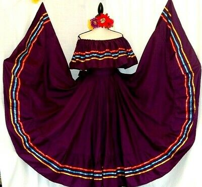 Peasant Red Authentic Mexican Jalisco folklorico Dance Dress Rodeo 2 pc NWT