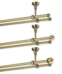 Gardinenstange Mit Deckenmontage 16mm Zweilaufig Messing Antik 120