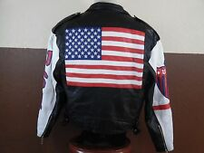 Michael Hoban Where Mi Excelled USA American Flag Leather Jacket Small