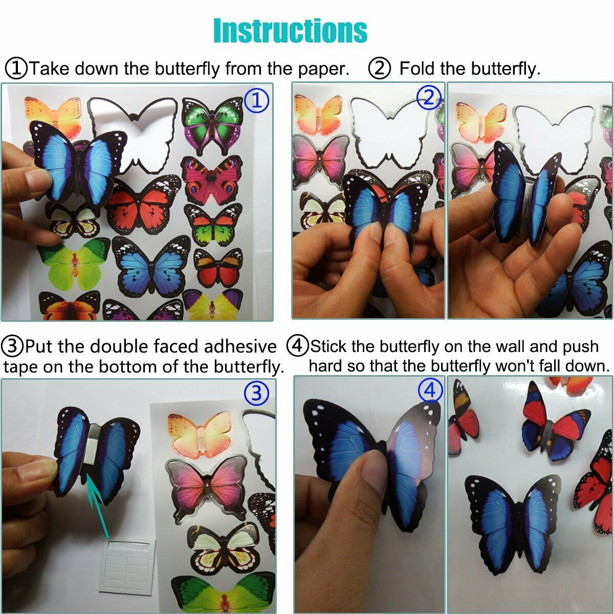 72 3D Butterfly Wall Room Decor Decorations For Teen Girls Bedroom Age 8 10-12