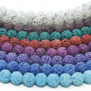 Dyed-Lava-Rock-Beads-Natural-Round-Loose-8mm-15-5-034-Strand