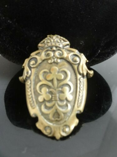 Antique Embossed Brass Pin Brooch COAT OF ARMS ROY