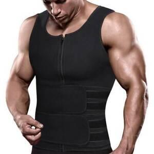 US Men Sauna Suit Sweat Vest Tank Tops Neoprene Shirt Body Shaper Waist Trainer