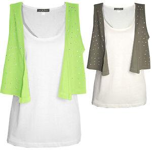 Top-Shirt-mit-zipfeliger-Weste-WEIss-hell-gruen-taupe-khaki-Gr-38-40-42