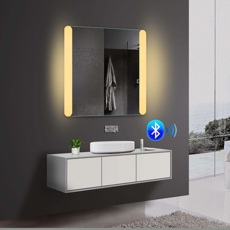 Wandspiegel Badezimmerspiegel LED Beleuchtung Warmweiß Kaltweiß Blautooth 80cm