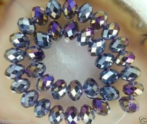 DIY Jewelry Faceted 93PC 4*6mm Cheap wholesale purple AB crystal beads