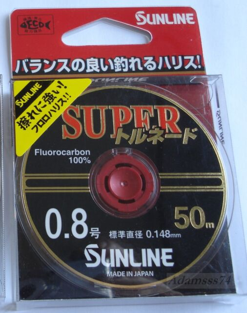 Sunline Tornado V-plus 55yrd.50m.Fluorocarbon 100/% Invisible Clear Fishing Line