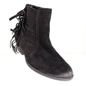 Kenneth-Cole-Reaction-Black-Suede-Ankle-Boots-Size-8-5-Womens-Fringe-Booties-Raw
