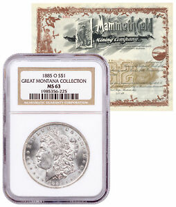 1885-O-Morgan-Silver-Dollar-Great-Montana-NGC-MS63-Mammoth-Certificate-SKU58091
