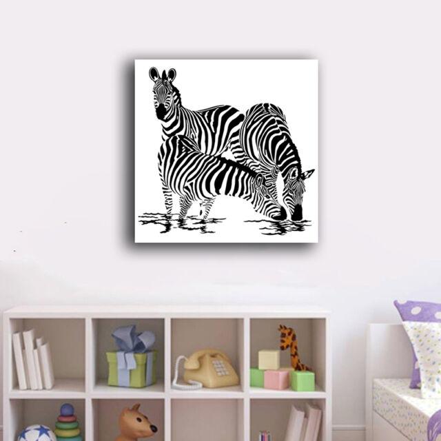 60×60×3cm Zebra Family Canvas Print Framed Office Wall Art Home Decor Painting