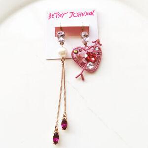 New-Betsey-Johnson-Heart-Drop-Dangle-Earrings-Gift-Fashion-Women-Party-Jewelry