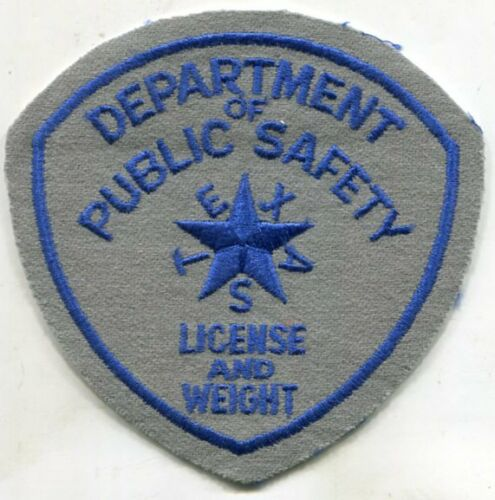 License /& Weight Texas Department Of Public Safety Police FELT Patch Obsolete