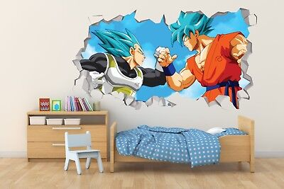Dragon Ball Super Vegeta Pared Calcomanía Vinilo Sticker rompía agujero 3D DG016