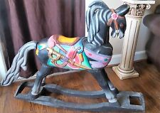 HAND-CARVED VINTAGE WOOD ROCKING HORSE made in Indonesia