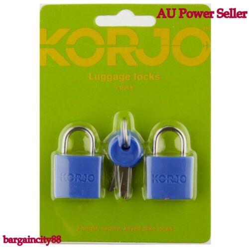 2X Pack Korjo Luggage Locks Secure Travel Suitcase Bags Keyed Alike Padlock Lock