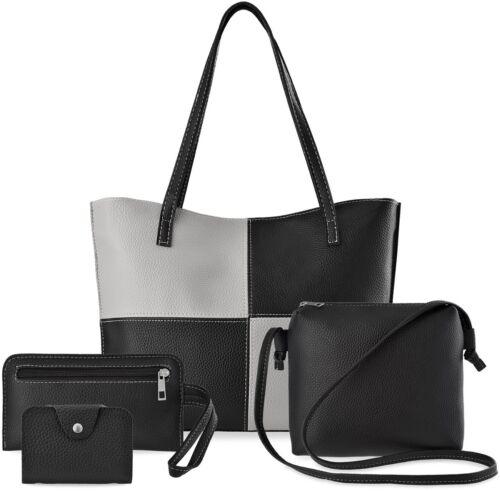 Handtaschen Set Shopper Schultertasche Handgelenktasche  Etui Schwarz