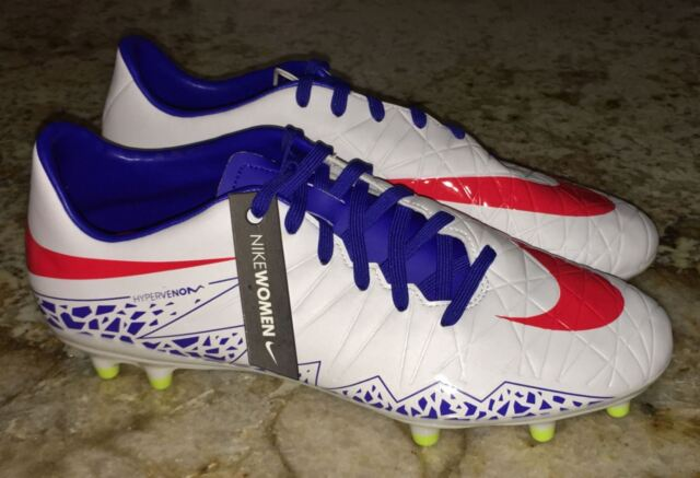 sale retailer 63c97 c8be9 NIKE Hypervenom Phelon FG White Red Blue Soccer Cleats Womens 7.5 8.5 9 9.5  10