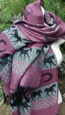 Pashmina Cashmere Silk Scarf Wrap Shawl Pink Gray Horse Shoe Pashima Equestrian