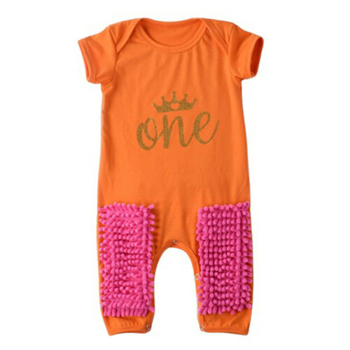 Toddler Kid Mop Crawling Romper Summer Short Sleeve Soft Cotton Babies 90cm