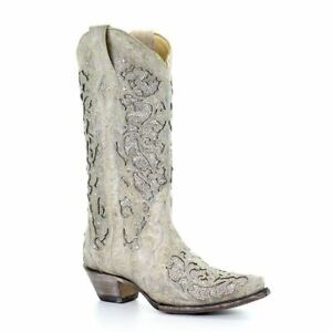 Corral-A3322-Martina-White-Women-039-s-Glitter-Inlay-Crystals-Wedding-Western-Boots