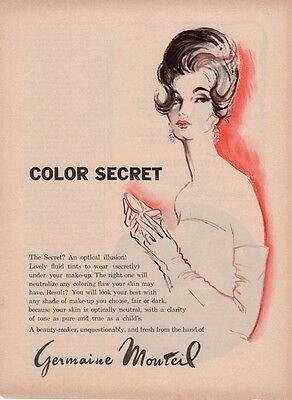 """1962 Germaine Monteil """"Color Secret"""" ART PRINT AD"""