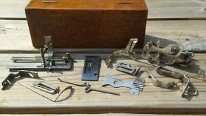 Antique-Wheeler-amp-Wilson-Sewing-Machine-Attachments-Parts-in-Original-Wooden-Box