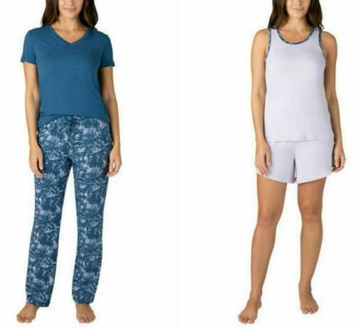 Eddie Bauer Women/'s 4 Piece Soft Sleep PJ Pajama Set Purple//Blue Size XL NWOT