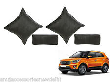Car Seat Neck Rest & Cushion Pillow Kit Combo (Black) Hyundai Creta