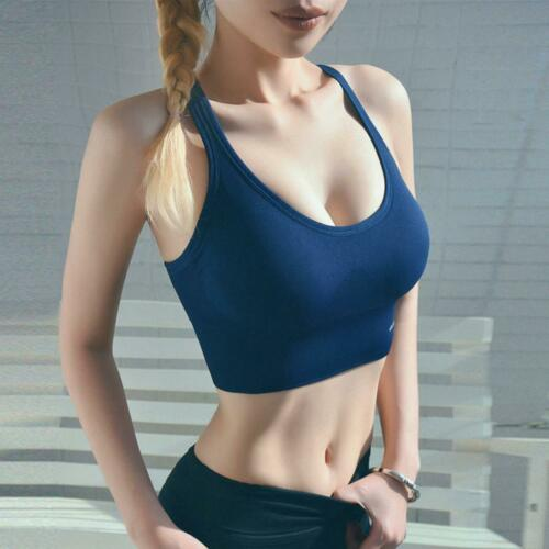 Women Casual Solid Seamless Back Closure Padded Fitness Sport Bra 0045