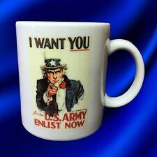 Uncle Sam 'I Want You ~ US Army Enlist Now' 11oz White Ceramic Coffee Mug NIB