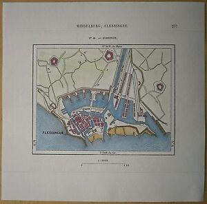 1879 Perron map Flushing Vlissingen Walcheren Zeeland