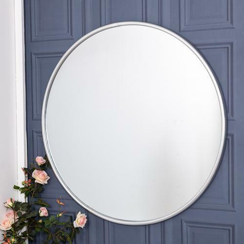 Extra Large Decorative Wall Hung Ornate Champagne Silver Round Fancy Mirror 56 For Sale Ebay